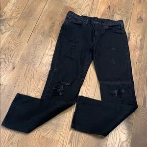 Men's black distressed Levi jeans 514
